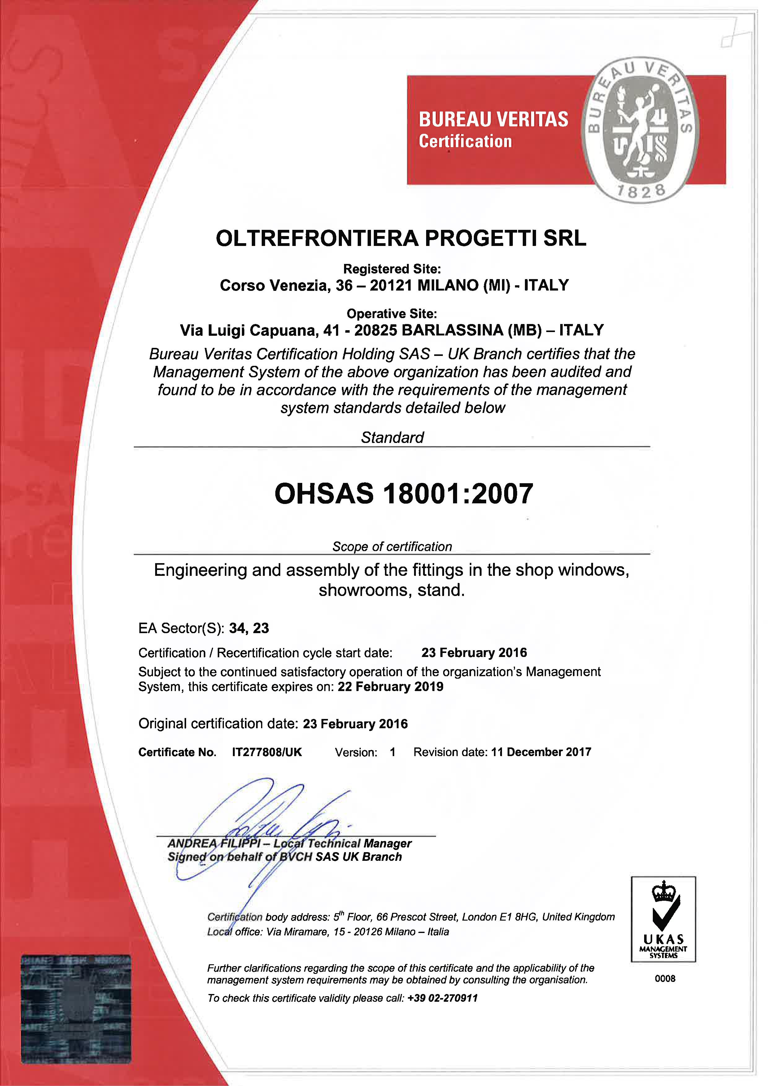 OLTREFRONTIERA PROGETTI SRL SCAN 18001 ING