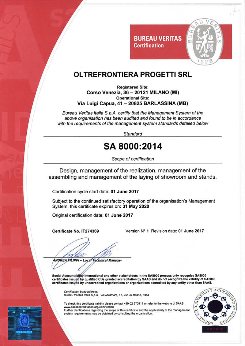 OLTREFRONTIERA PROGETTI SRL- SA8000