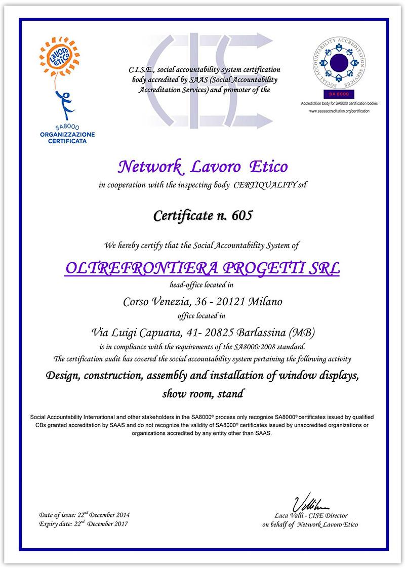 Certification Sa 8000 Oltrefrontiera Progetti
